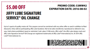 Jiffy lube oil change coupon