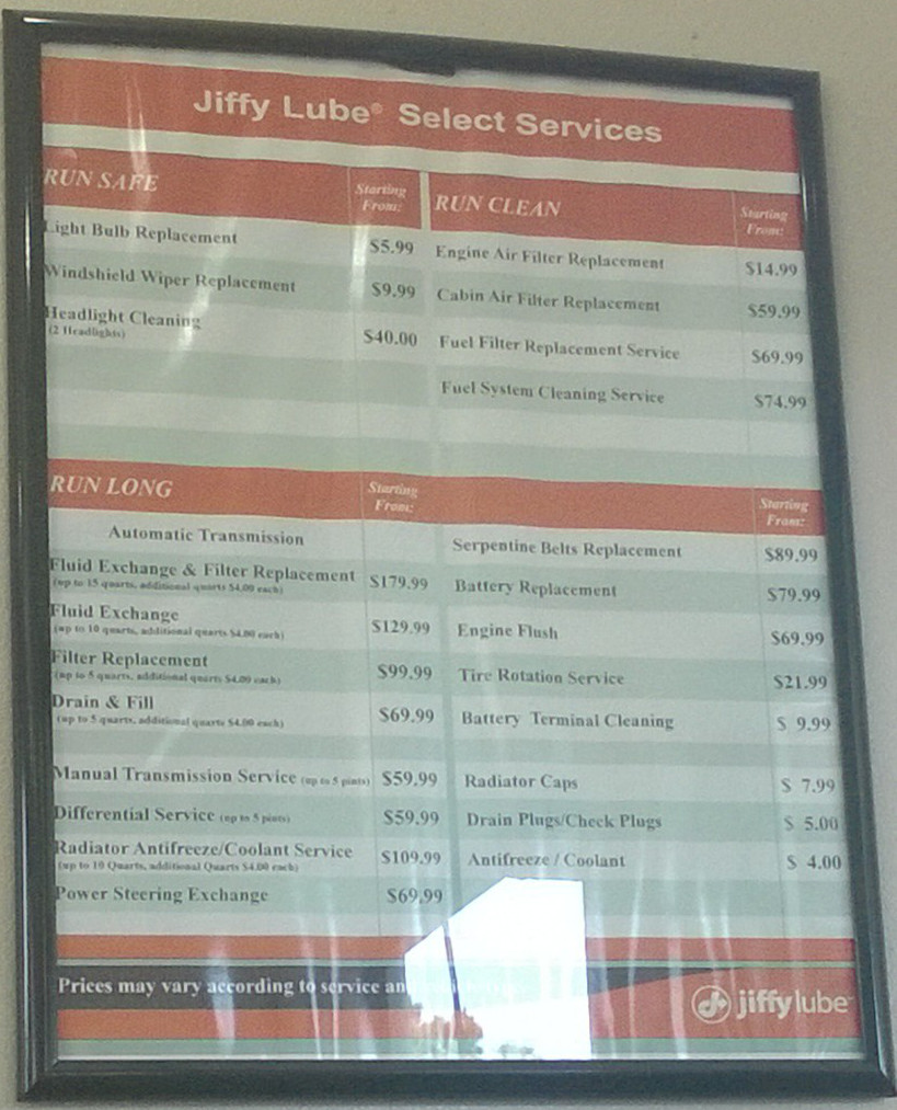 Jiffy Lube oil change select services costs